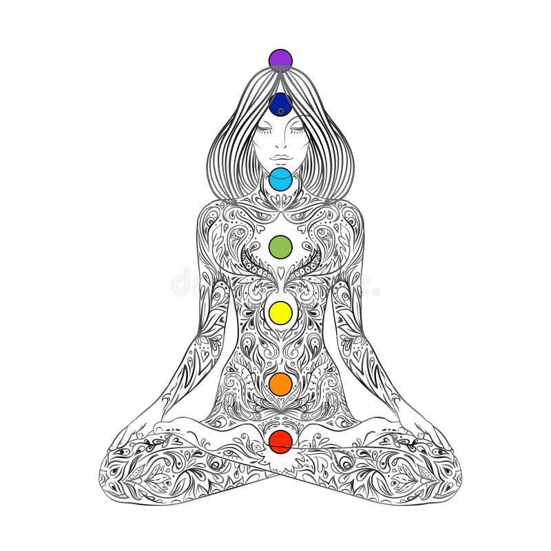 joga Kobiety sylwetki ozdobny obsiadanie w lotos pozie nad ornamentacyjnym kwiatem, etniczna sztuka Medytacja, kundalini, napady  royalty ilustracja