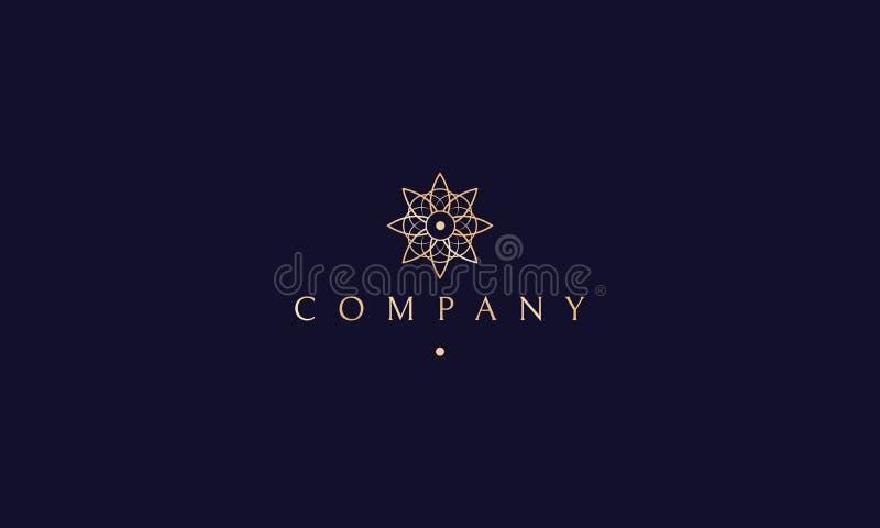 Joga kwiatu logo lotosowy złocisty wektorowy projekt royalty ilustracja