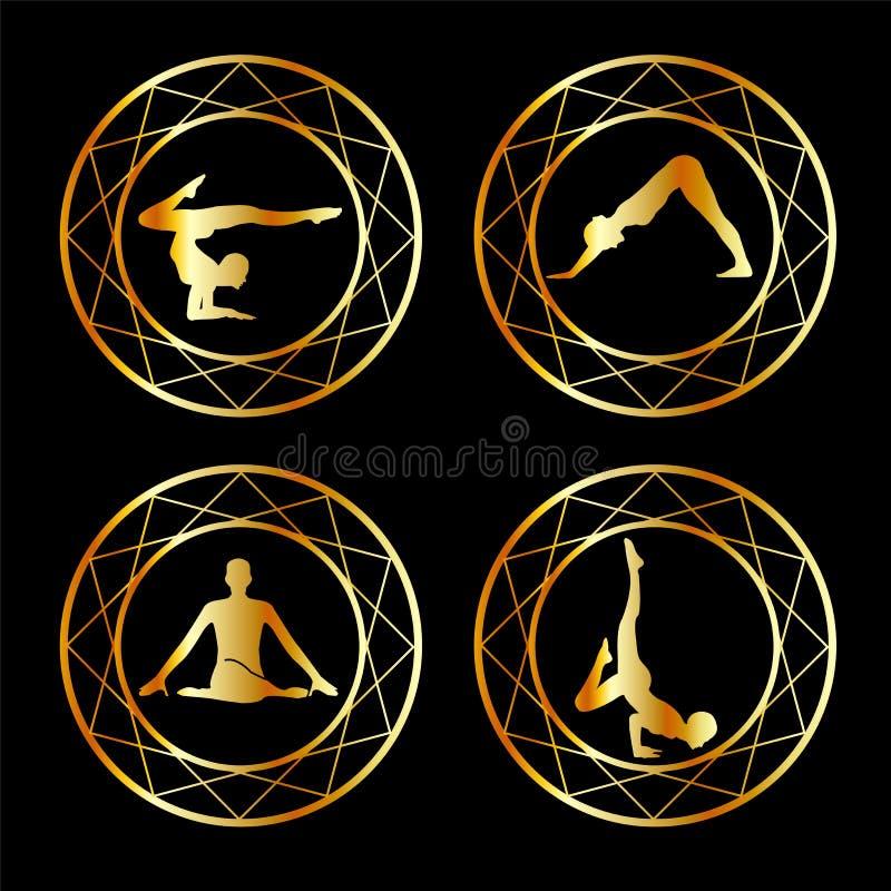 Joga lub gimnastyczki sylwetka ilustracji