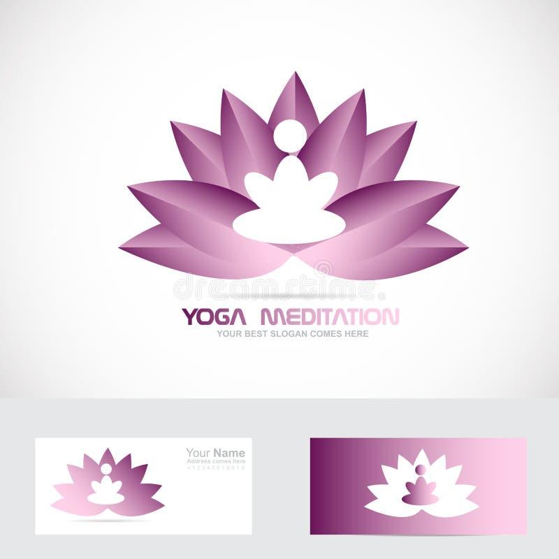 Joga medytaci lotosowego kwiatu logo ilustracja wektor