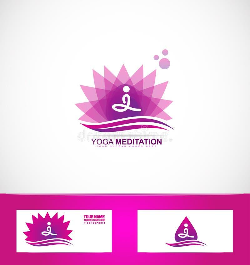 Joga medytaci lotosowego kwiatu logo ilustracji