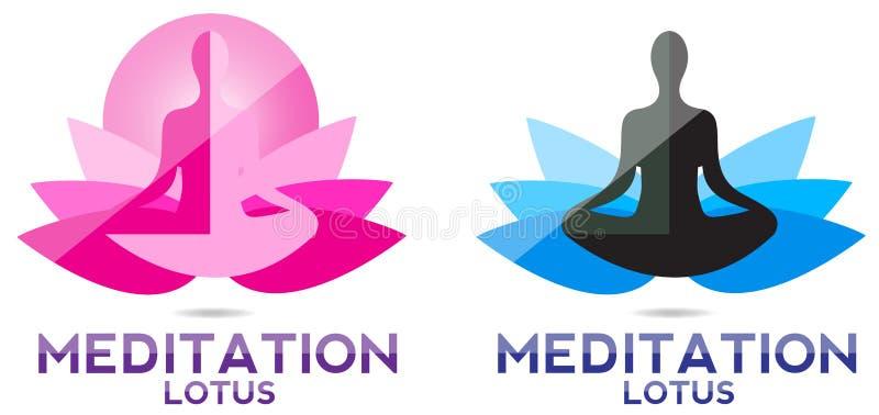 Joga medytaci lotosu logo ilustracja wektor