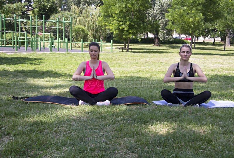 joga medytacja w parku Zdrowy ciało jest zdrowym duchem obraz royalty free