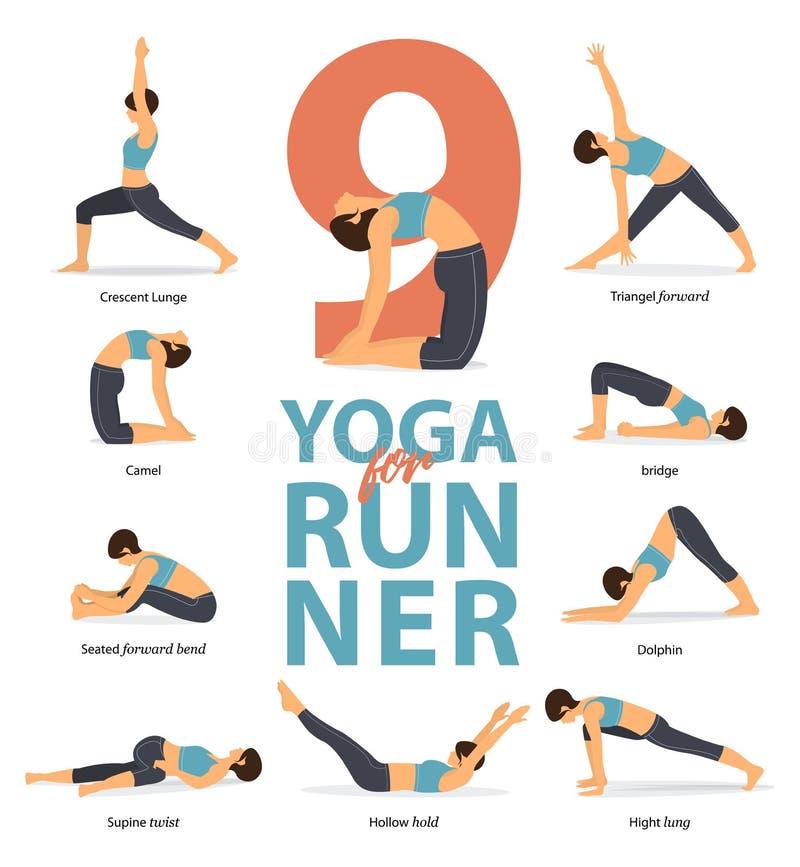 Joga postur ?e?skie postacie Infographic 9 joga poz dla biegaczów w płaskim projekcie ilustracja wektor
