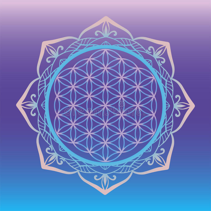 Joga pracowniany logo, kwiat obramiający z round mandala życie, święci geometria symbole i elementy dla alchemii, duchowość, reli royalty ilustracja
