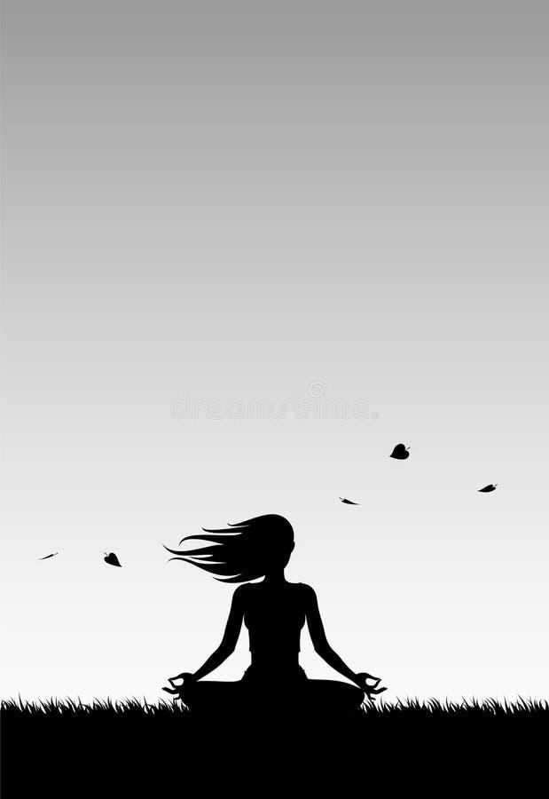 Joga przy Wietrznym zmierzchem ilustracja wektor