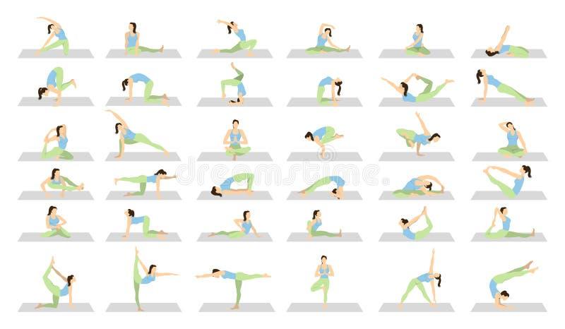 Joga trening dla kobiet ustawiać royalty ilustracja