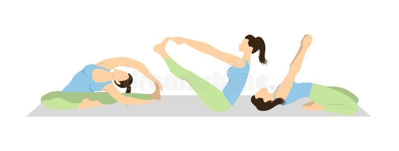 Joga treningu set ilustracja wektor