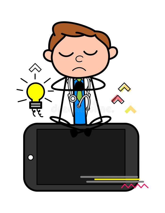 Joga utrzymania spokój na Mobilnej Wektorowej pojęcie ilustracji ilustracji
