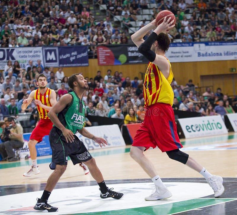 Jogador Andrea Bargnani e Marco Belinelli de NBA fotografia de stock