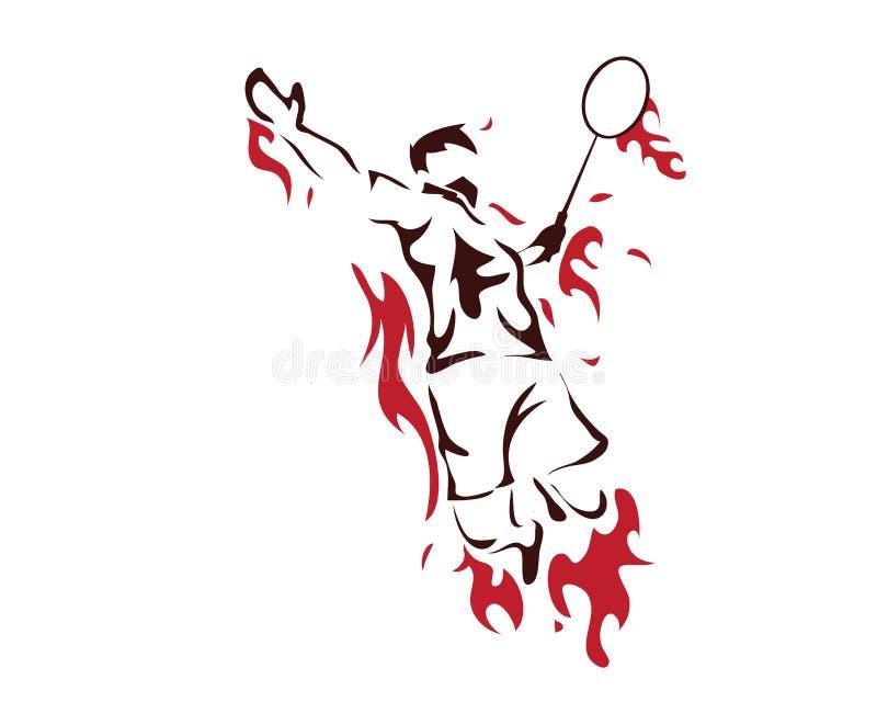 Jogador apaixonado moderno do badminton no logotipo da ação - quebra de vencimento apaixonado do momento ilustração stock