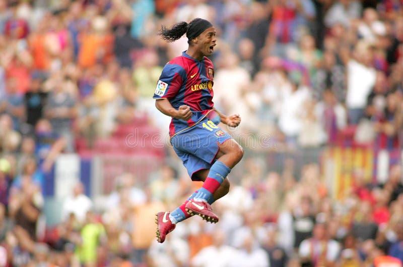 Jogador brasileiro Ronaldinho na ação imagem de stock royalty free