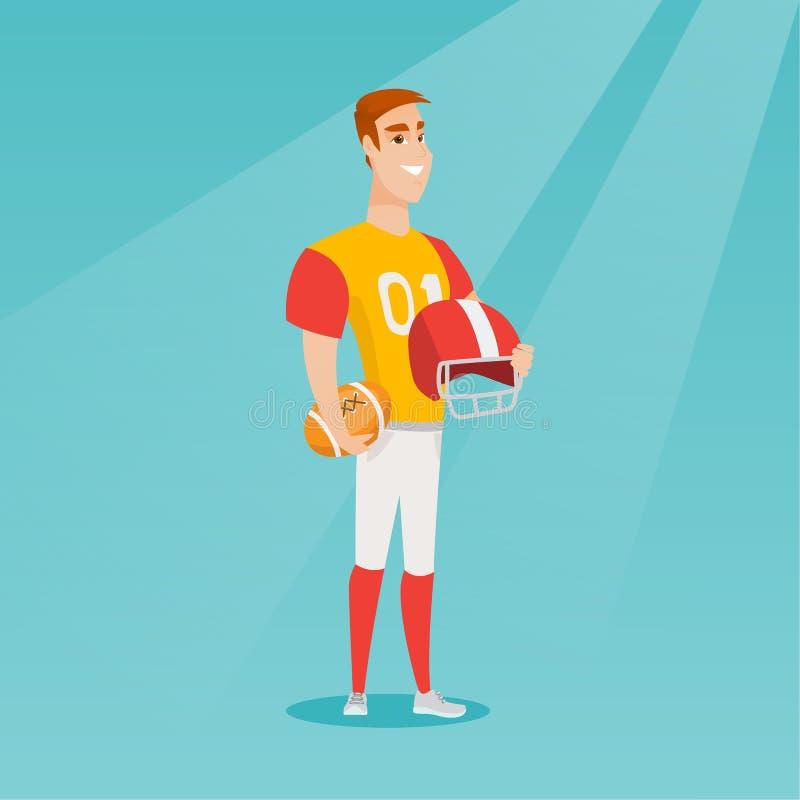 Jogador caucasiano novo do rugby do desportista ilustração do vetor