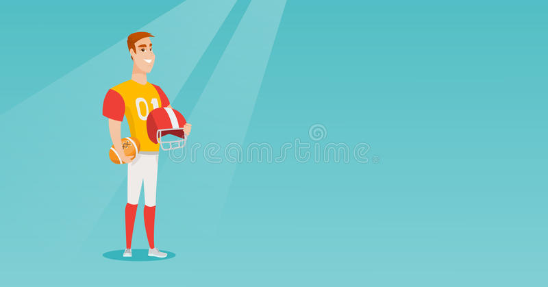 Jogador caucasiano novo do rugby do desportista ilustração royalty free