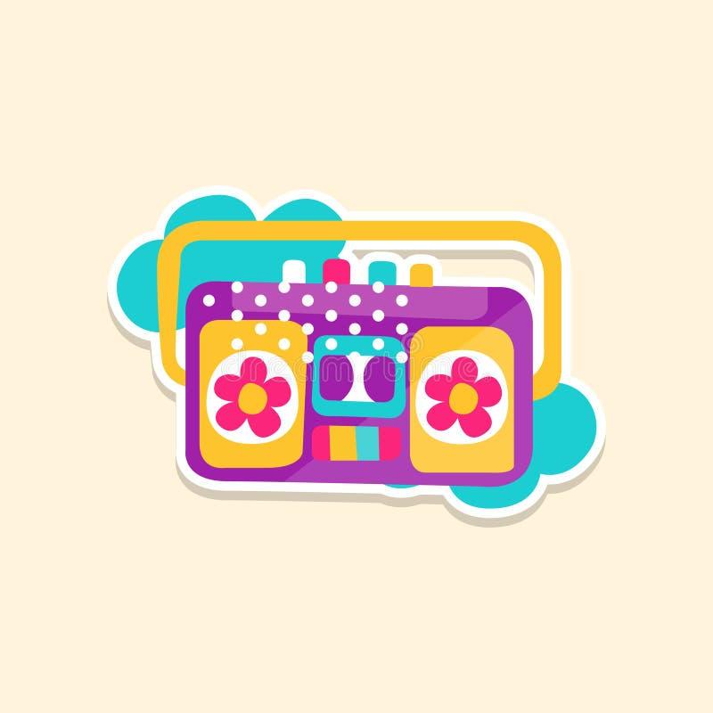 Jogador colorido da cassete de banda magnética de caixa de crescimento ou do rádio, etiqueta bonito em cores brilhantes, ilustraç ilustração do vetor