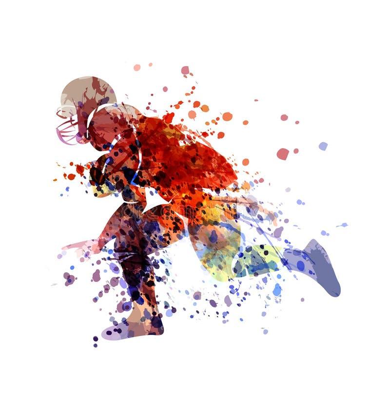 Jogador colorido do esboço do futebol americano ilustração do vetor