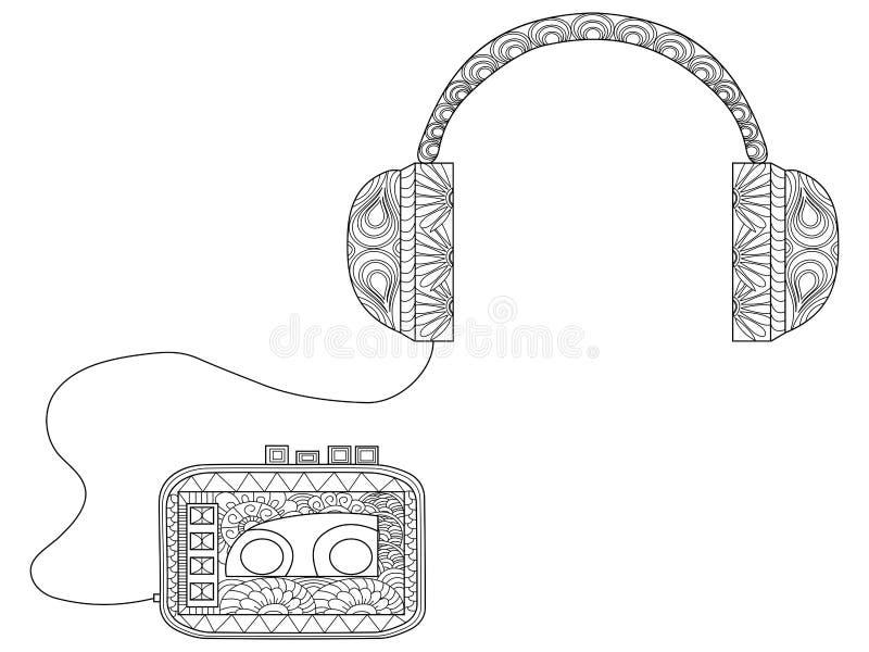 Jogador com os fones de ouvido que colorem o vetor para adultos ilustração royalty free