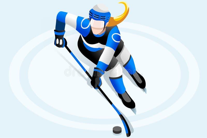 Jogador da fêmea do hóquei em gelo ilustração do vetor