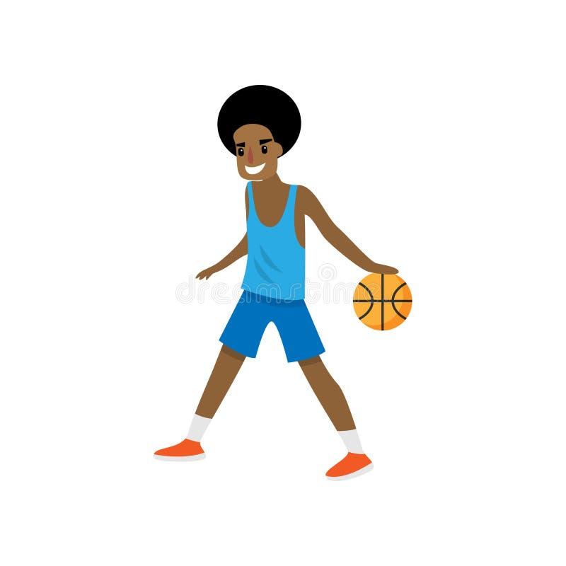 Jogador de basquetebol africano novo de sorriso que vai com bola ilustração stock