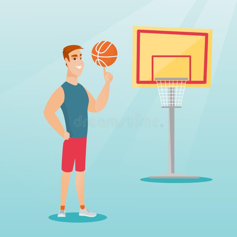 Jogador de basquetebol caucasiano novo que gira uma bola ilustração royalty free