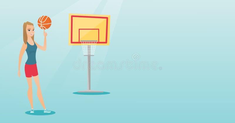 Jogador de basquetebol caucasiano novo que gira uma bola ilustração stock