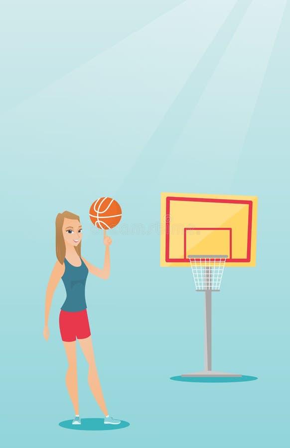 Jogador de basquetebol caucasiano novo que gira uma bola ilustração do vetor