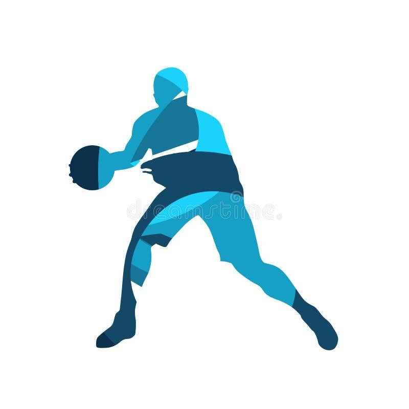 Jogador de basquetebol com bola, silhueta azul do vetor ilustração stock