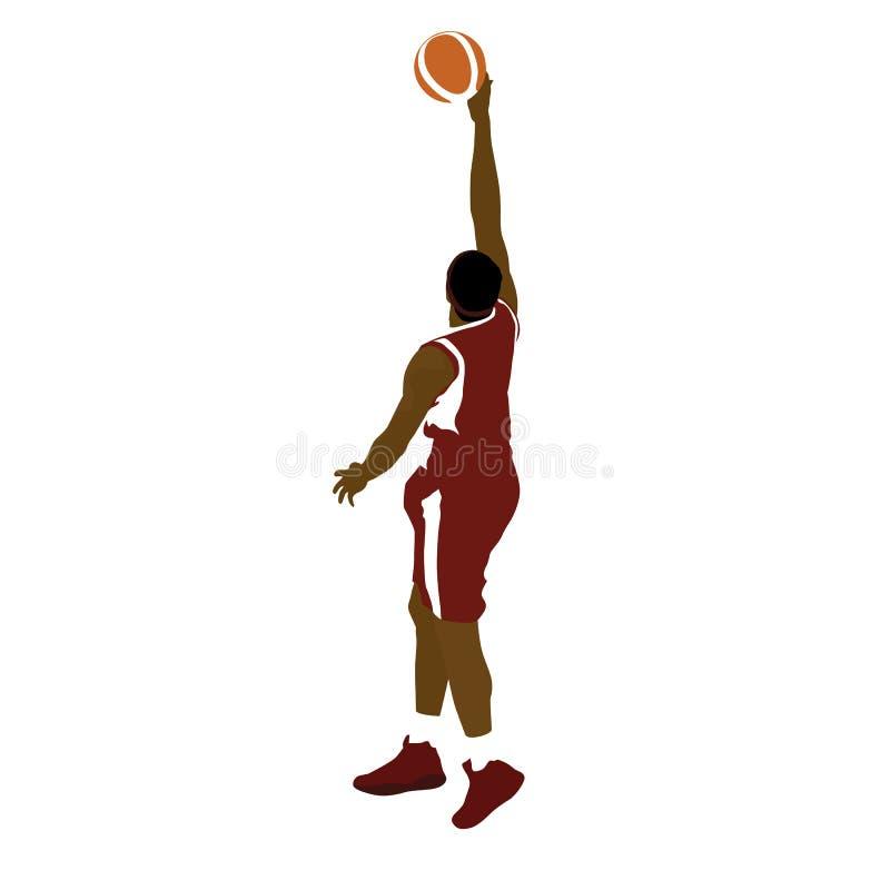 Jogador de basquetebol com bola, tiro do rolo do dedo ilustração royalty free