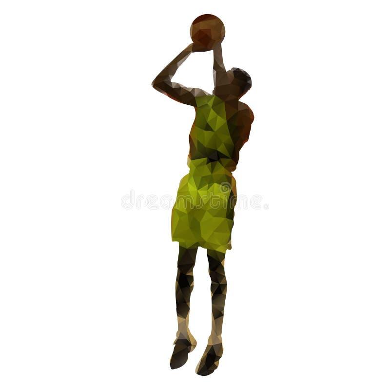 Jogador de basquetebol com bola, tiro em suspensão ilustração stock