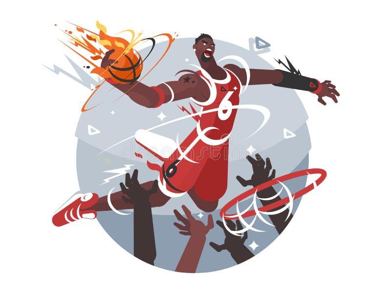 Jogador de basquetebol com esfera ilustração do vetor
