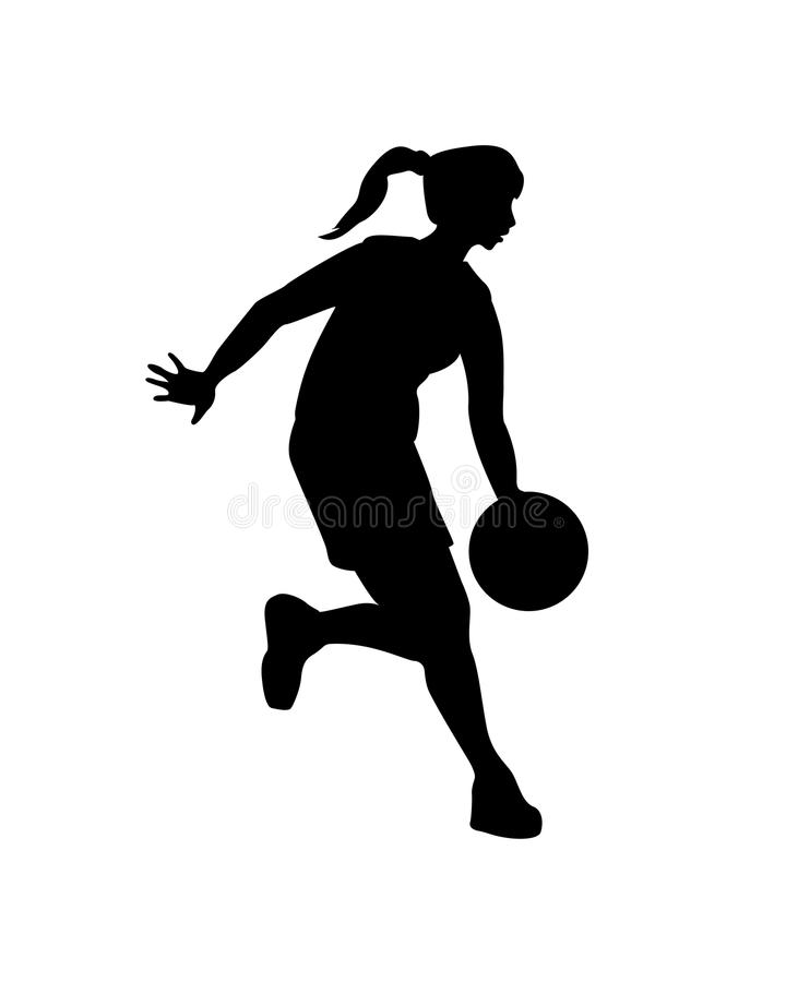 Jogador de basquetebol da mulher Silhueta preta do vetor ilustração royalty free
