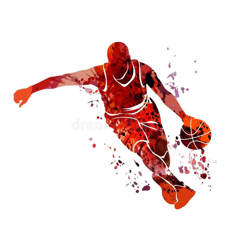 Jogador de basquetebol da silhueta da aquarela ilustração do vetor