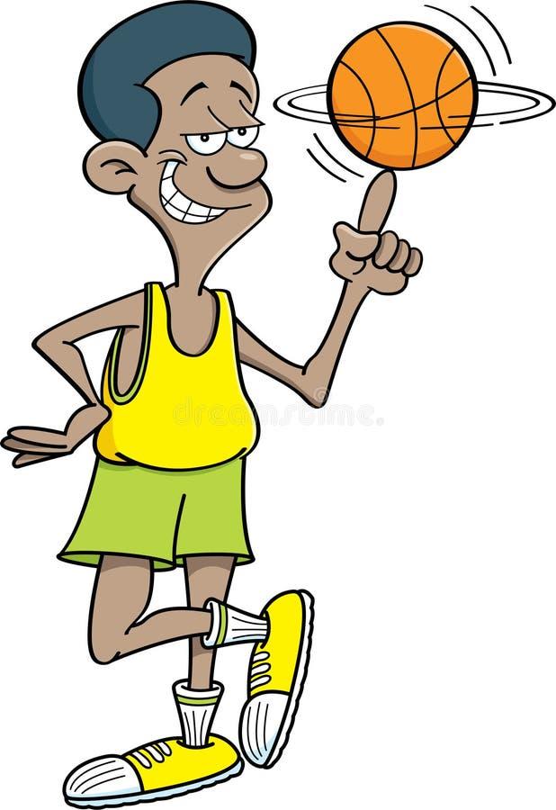 Jogador de basquetebol dos desenhos animados que gira um basquetebol ilustração royalty free