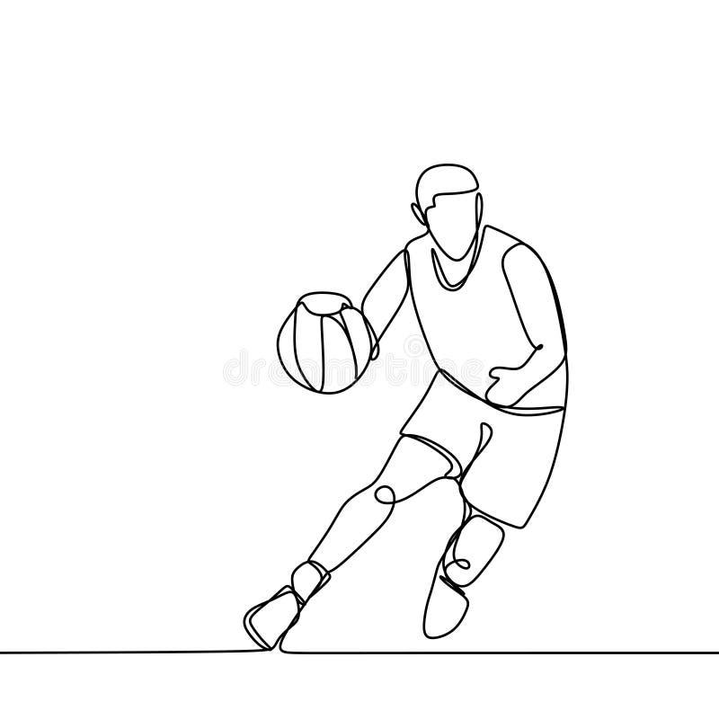 Jogador de basquetebol durante o jogo de fósforo, ele que pinga uma bola Único a lápis contínuo ilustração do vetor do desenho Te ilustração stock