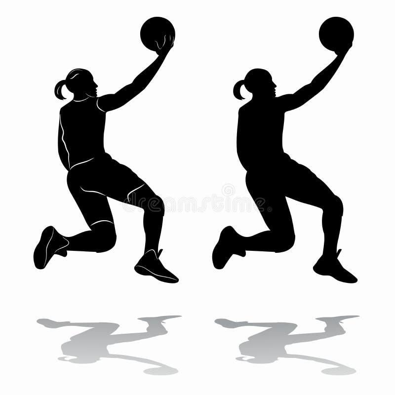 Jogador de basquetebol fêmea da silhueta, desenho do vetor ilustração do vetor