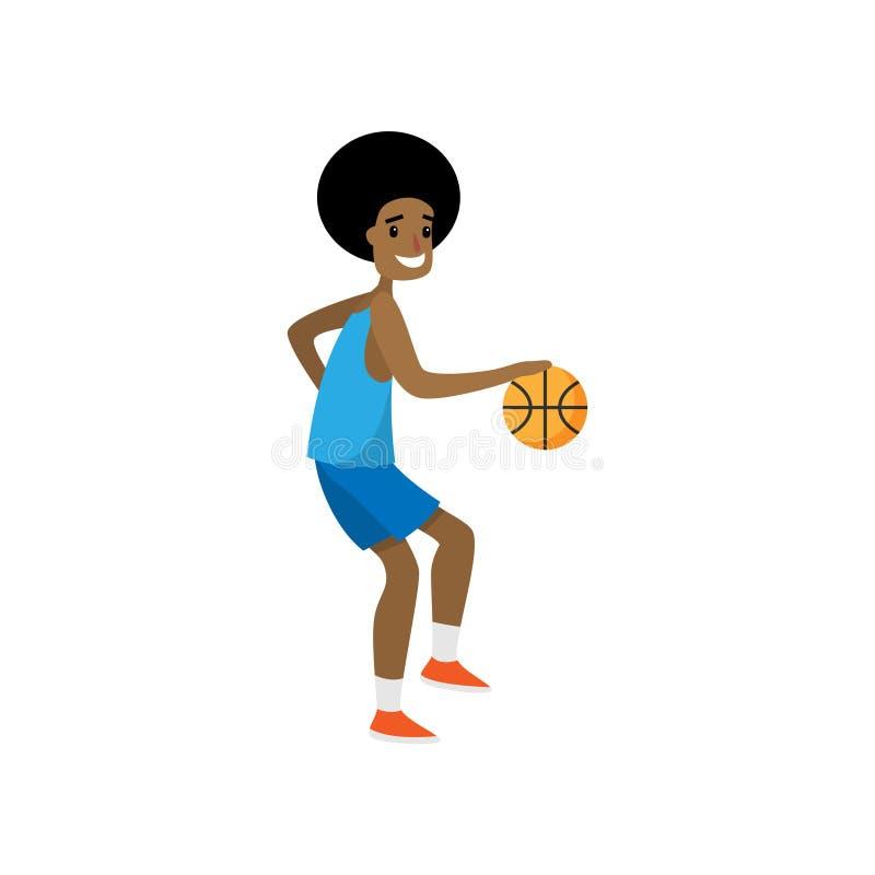 Jogador de basquetebol feliz para pingar todos os jogadores de equipe oponentes ilustração royalty free
