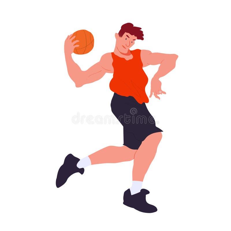 Jogador de basquetebol Gajo fresco no t-shirt vermelho e no short escuro Plano com ilustração do vetor da textura Isolado ilustração stock
