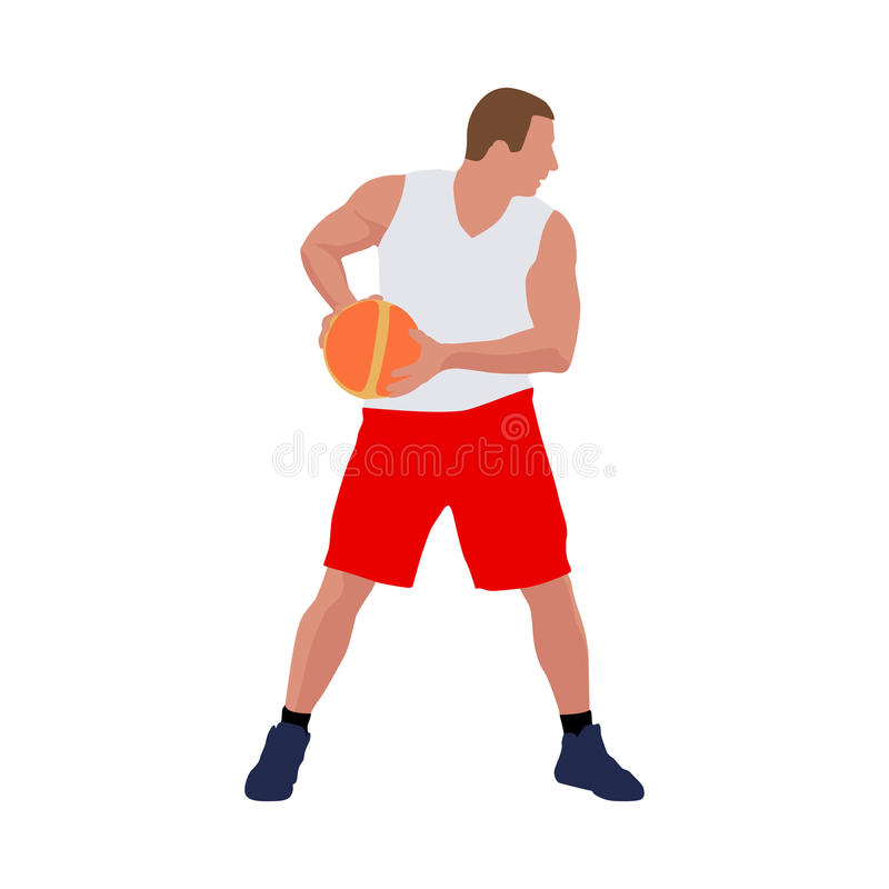 Jogador de basquetebol que está com bola ilustração royalty free