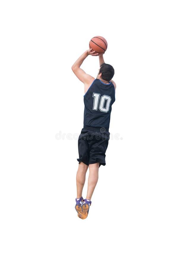 Jogador de basquetebol que faz um tiro em suspensão no branco imagem de stock royalty free