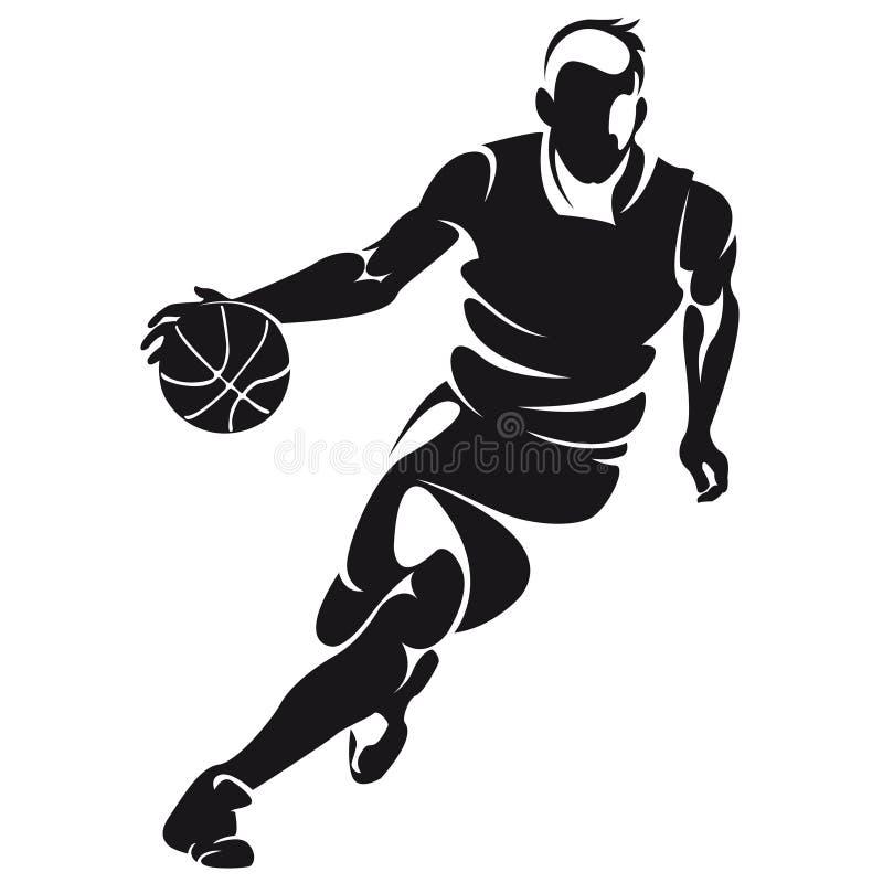Jogador de basquetebol, silhueta ilustração stock