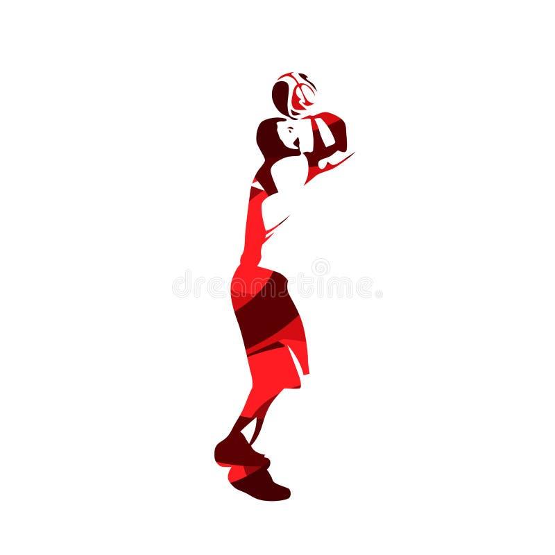 Jogador de basquetebol, silhueta vermelha abstrata do vetor ilustração royalty free