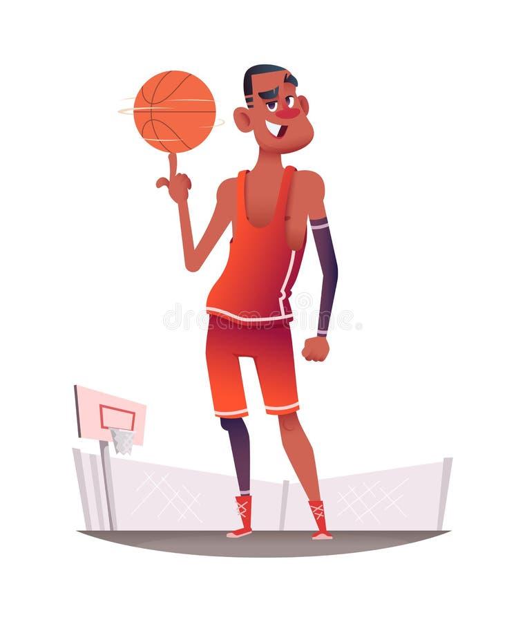 Jogador de basquetebol de sorriso feliz no uniforme com a bola que está no campo de jogos do basquetebol Projeto de caráter do ve ilustração do vetor