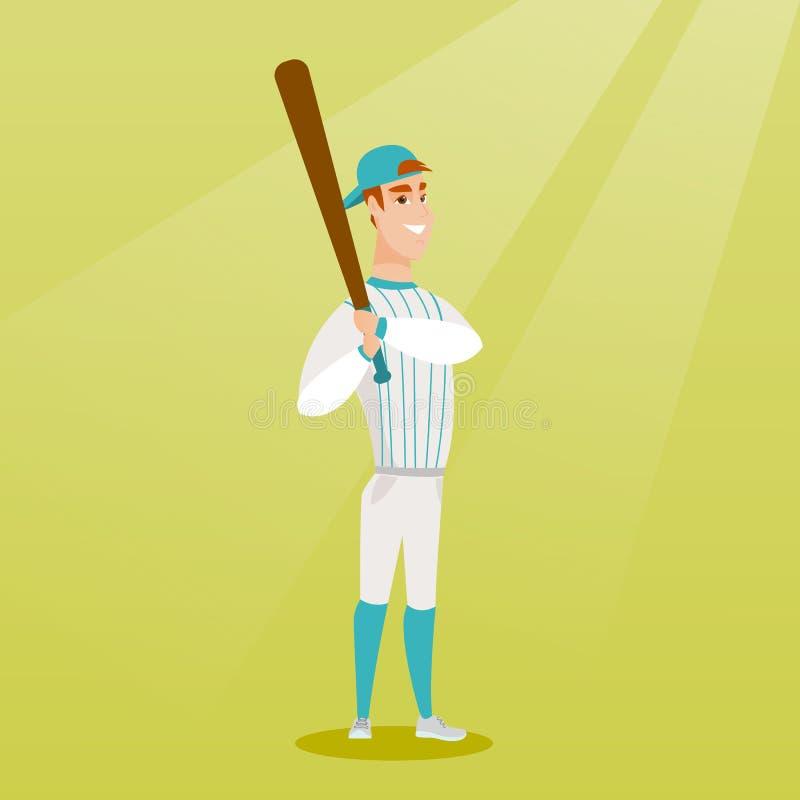 Jogador de beisebol caucasiano novo com um bastão ilustração stock