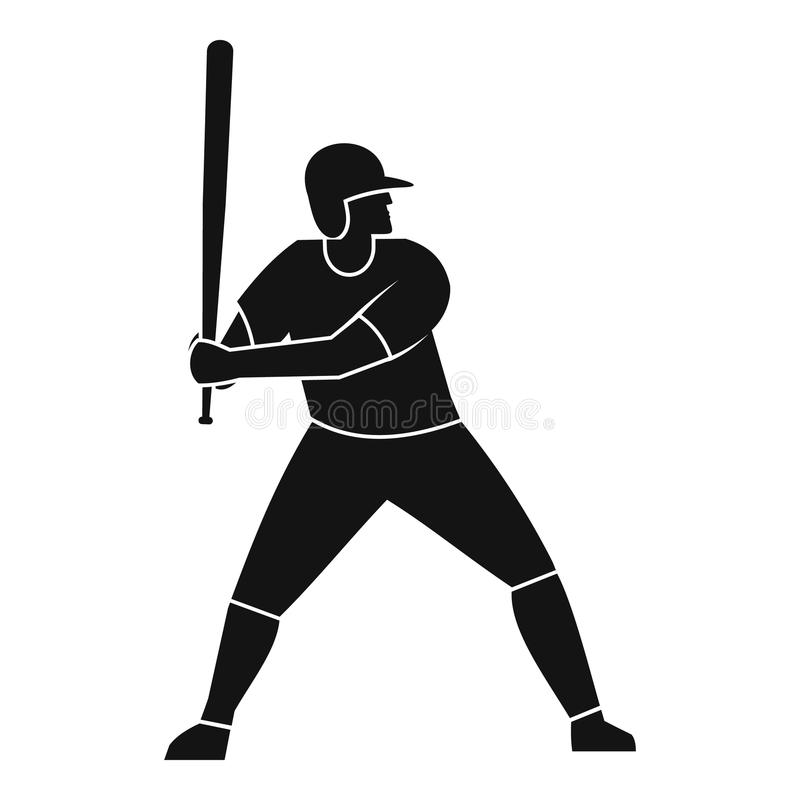 Jogador de beisebol com ícone do bastão, estilo simples ilustração royalty free