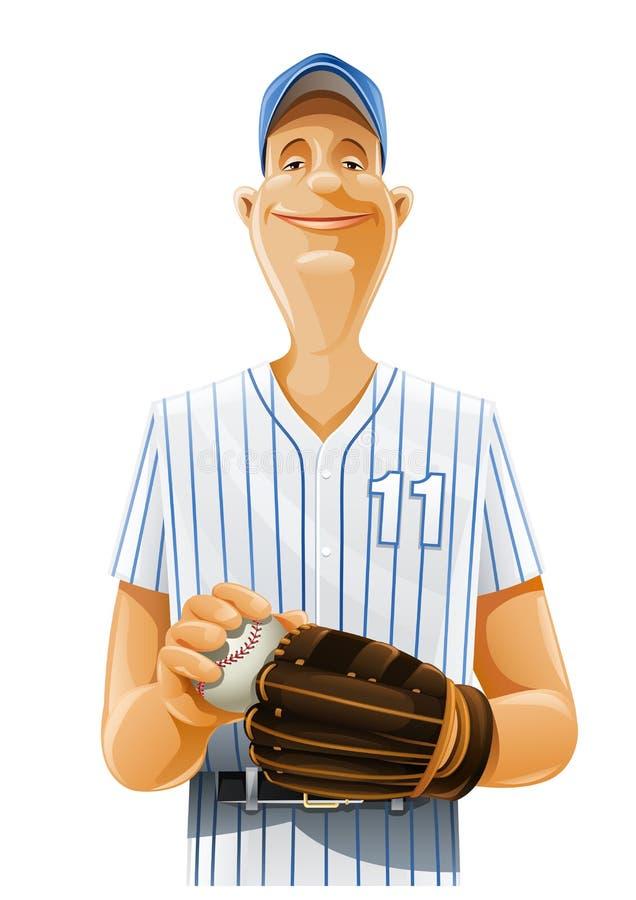 Jogador de beisebol com bastão e esfera ilustração stock