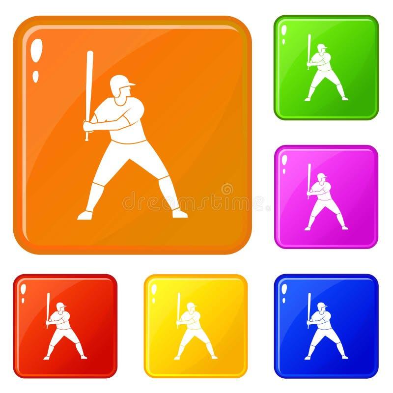 Jogador de beisebol com cor do vetor do grupo dos ícones do bastão ilustração stock