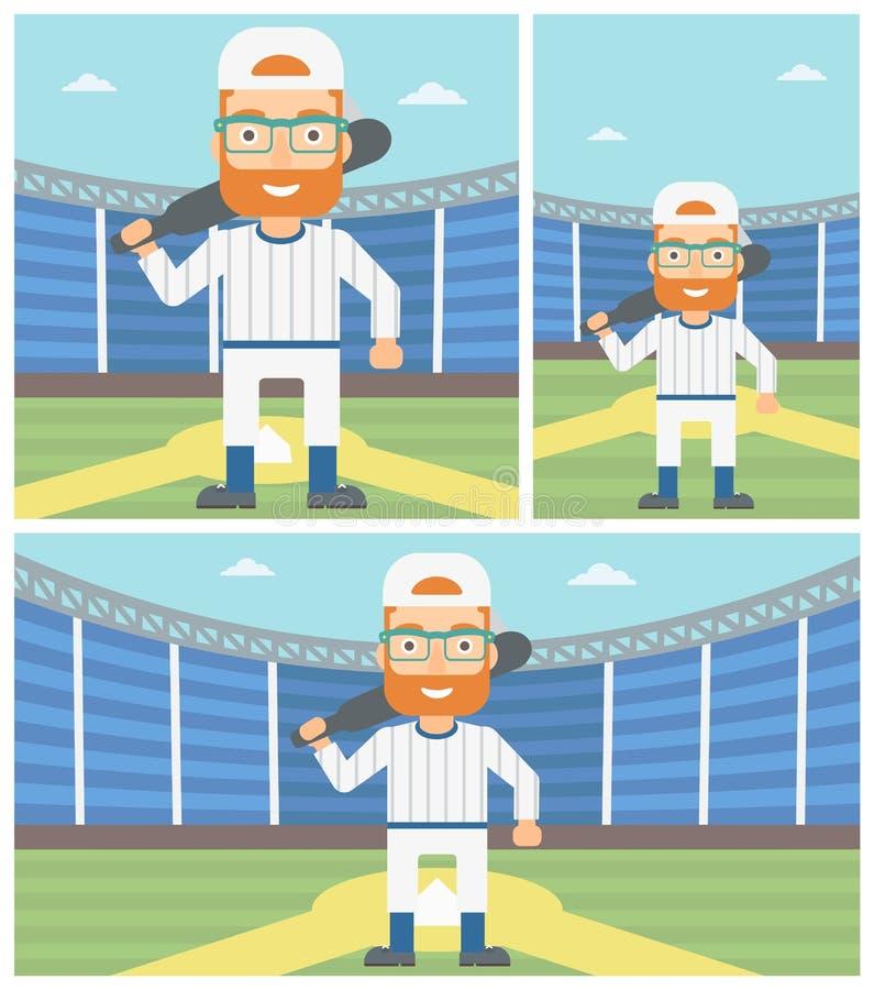 Jogador de beisebol com ilustração do vetor do bastão ilustração stock