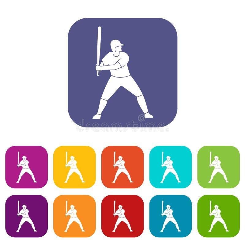 Jogador de beisebol com o plano ajustado ícones do bastão ilustração stock