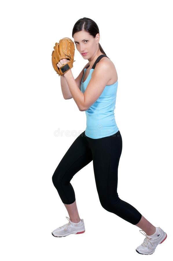 Jogador de beisebol da mulher fotografia de stock