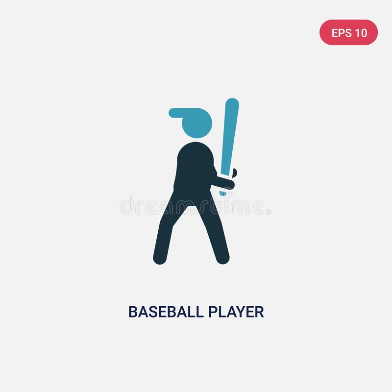 Jogador de beisebol de duas cores com ícone do vetor do bastão do conceito dos esportes o jogador de beisebol azul isolado com sí ilustração royalty free